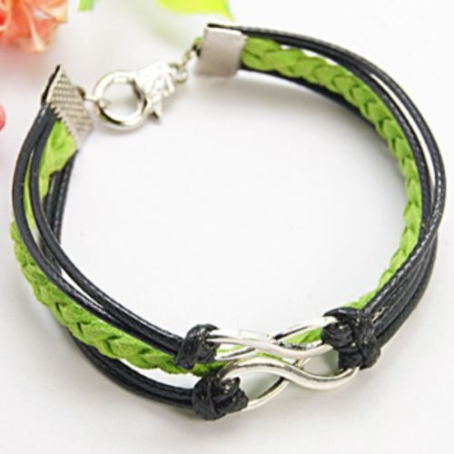Charm Buddy 18cm Infinity Charm Bracelet with Braided Green Suede Leather and Black Cord Wristband Hippy Friendship Wish Style Bracelet Wedding Favour Gift