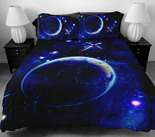 Anlye Blue Night Sky Bedding Set For Home Decor 2 Sides Printing Satellite On Silk Fabric Duvet Covers With 2 Pillow Cases King front-821305