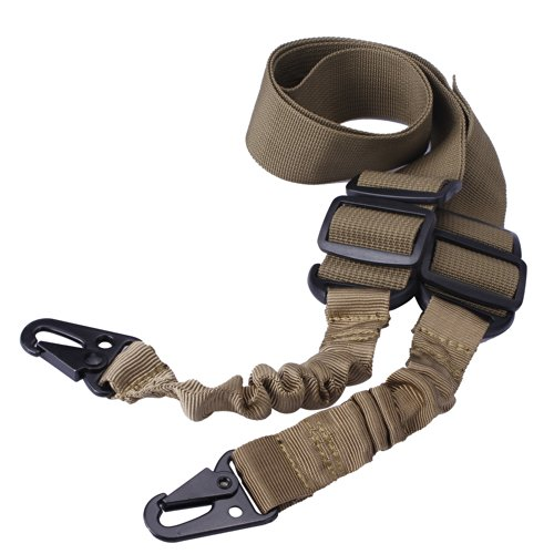 Fafada Tactical 2 Two Dual Point Rifle Gun Sling Adjustable Bungee Strap Cord For Outdoor Sports (Khaki) front-1075958