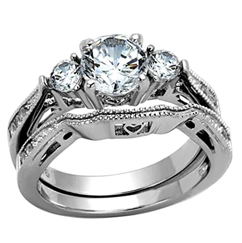 Stainless Steel White Round Cut Cubic Zirconia Wedding Ring Set Three-Stone Size 5-10 SPJ