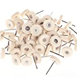 Generic 2.35mm Shank 25mm Mounted Solid Felt Buff For Dremel Foredom Rotary Tools Pack of 100Pcs