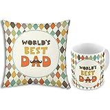 Fathers Day Gift Multi-Color Worlds Best Dad 12x12 Filled Designer Cushion & Printed Ceramic Designer Mug Pair