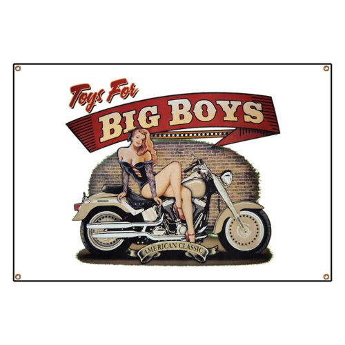Banner Toys for Big Boys Lady on Motorcycle