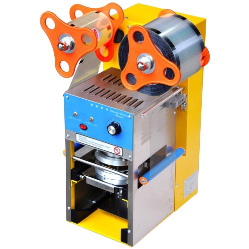 Professional Commercial Heavy Duty Stainless Steel Structure Easy Operation Automatic Bubble Tea Boba Cup Sealer Sealing Machine