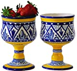 Set of 2 Ceramic Wine Goblets from Spain. Yellow