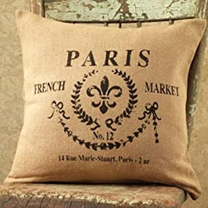 Amazon.com: Paris French Market No.12 Cotton Burlap Throw Pillow - 16-in x 16-in: Home & Kitchen