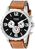 Fossil Men's Nate Stainless Steel Watch with Brown Leather Band JR1486