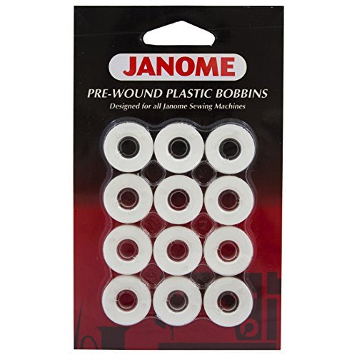 Janome 12 Pack Pre-Wound Plastic Bobbins White Thread (Thread Janome compare prices)
