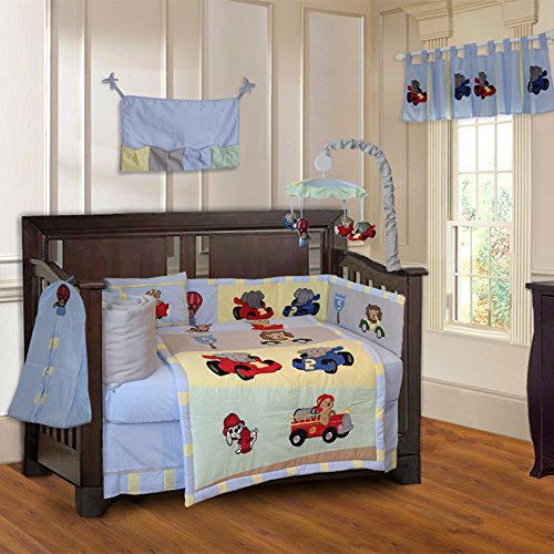 BabyFad Animal Zoom 10 Piece Baby Crib Bedding Set
