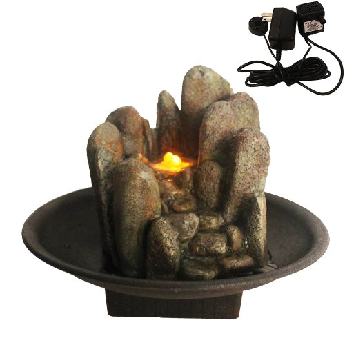 Welland Stacked River Rock Design Tabletop Fountain