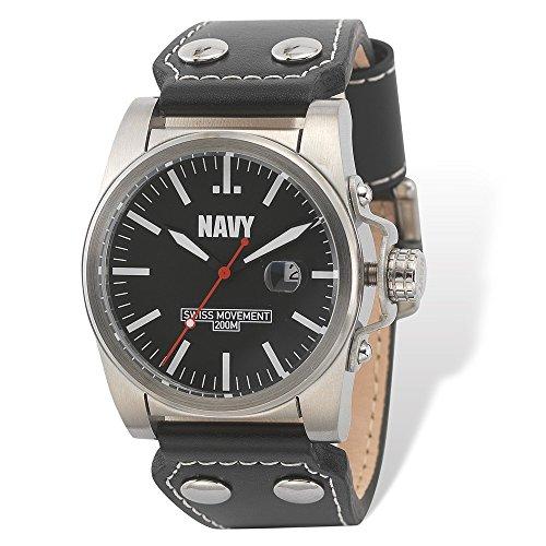 us-navy-handgelenk-rustung-c1-uhr-schwarzes-weisse-zifferblatt-blk-leather-strap-us-navy-wrist-armor
