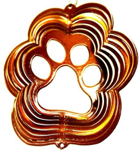 """Stainless Steel Wind Spinner, 3"""" Itsy Bitsy Paw Copper Starlight"""