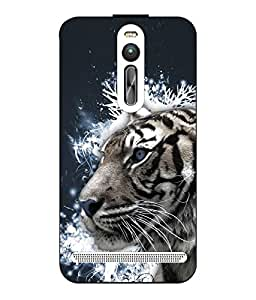 Snazzy Tiger Printed Blue Hard Back Cover For Asus Zenfone 2