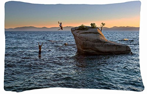 Microfiber Peach Queen Size Soft And Silky Decorative Pillow Case -Landscapes Lake Tahoe Lake Tahoe California Usa. front-1012594