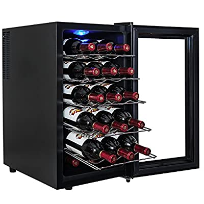 AKDY 18 Bottle Single Zone Thermoelectric Freestanding Wine Cooler Cellar Chiller Refrigerator Fridge Quiet Operation