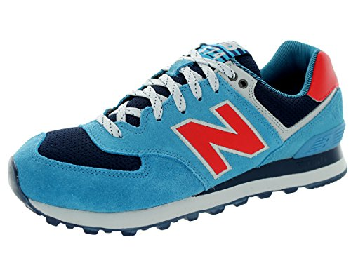 New Balance Men'S Ml574 Out East Collection Classic Running Shoe, Blue/Red, 8 D Us