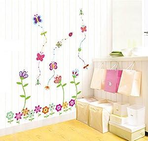 ufengke® Coloridas Flores y Mariposas Preciosos Pegatinas de Pared, Vivero Habitación de Los Niños Removible Etiquetas de La Pared / Murales - BebeHogar.com