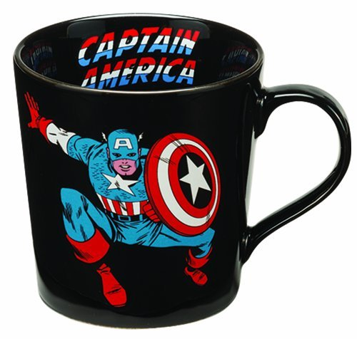 Vandor 26566 Marvel Captain America 12 oz Ceramic Mug, Black, Red, Blue, and White (Blue White Ceramic Espresso Cups compare prices)