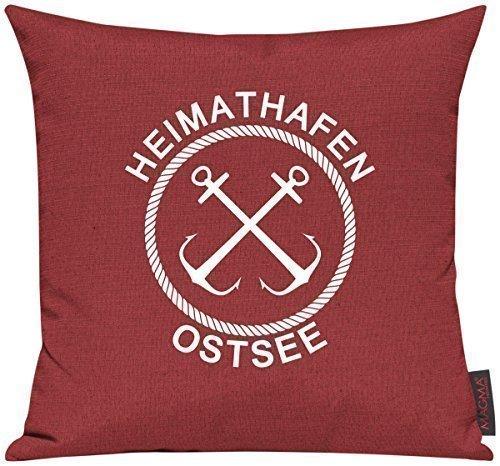 Housse pour eLU! coussin porte motif kuschelidee «port d'attache» de la mer baltique, Tissu, tomate, 40x40cm
