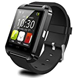 EFOSHM® SAFE Black Luxury Fitness Sport V8 Smart Bracelet Watch Bluetooth Wireless Notification Phonebook Dialer Messaging Call Log Notifier Music Camera Remote Camera Control Anti Lost Anti-Lost Menustyle Ringtone Sleep Monitor Pedometer Fit Fitness Health Sports Exercise Calls SMS Reminder Multilanguage Stopwatch Time Date Findphone Clocktype Sedentary Remdiner Compatible for Men Man iPhone 6 Plus 5S 5C 5 4S, iPad Air, mini, Galaxy S6 S5 S4 S3, Note 4 3 2, Tab 4 3 2 Pro, Nexus 4 5 7 10, HTC One, One 2 (M8), LG G3, MOTO X G, most other Phones and Tablets (Black).