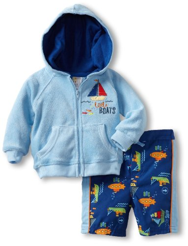 ABSORBA Baby-Boys Newborn Cover Up Two Piece Swimsuit Terry Set, Blue, 3-6 Months