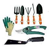 Easy Gardening - Garden Tools Kit (8Tools) Weeder,Trowel Big,Trowel Small,Cultivator,Fork, Pruner, Khurpi, Knit...