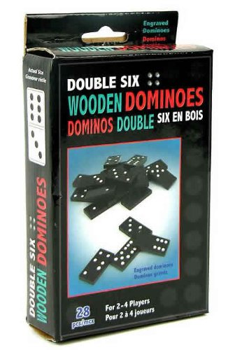 28-pc Double Six Wood Dominoes Set
