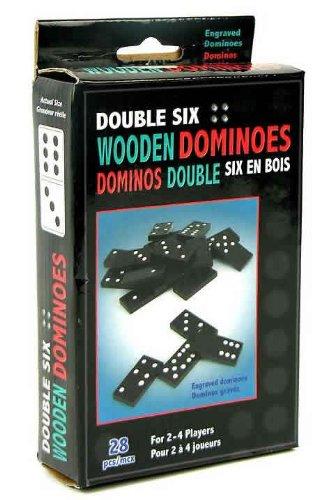 28-pc Double Six Wood Dominoes Set