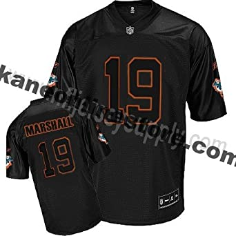 Miami Dolphins NFL Mens Brandon Marshall # 19 Lights Out Jersey, Black by Reebok