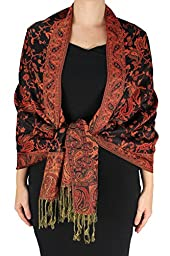 Peach Couture Red and Black Double Layer Reversible Paisley Pashmina Shawl Wrap Scarf