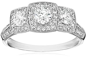 14K White Gold 1.0Cttw Diamond Engagement Ring (H-I Color, I1-I2 Clarity), Size 7 by The Aaron Group