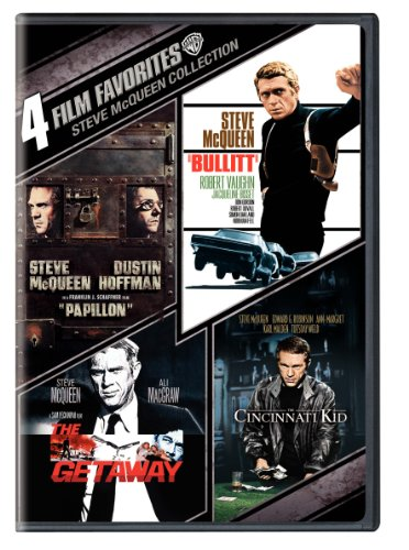 Cover art for  Steve McQueen Collection: 4 Film Favorites (Papillon / Bullitt / The Getaway / The Cincinnati Kid)