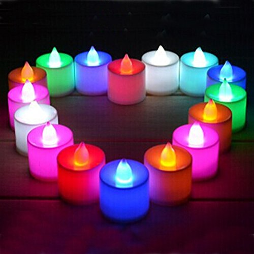Set Of 24 Colour Changing Led Tea Light Candle Tealight Mood Light With Battery For Wedding Party Club Decor In White M-Ld010
