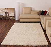 Shaggy Rug High Pile Long Pile Modern Carpet Uni Cream Ivory by PHC