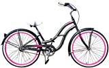 Fito Women's Brisa Aluminum Alloy 3-Speed 26-Inch Wheel Beach Cruiser Bike, Grey/Hot Pink