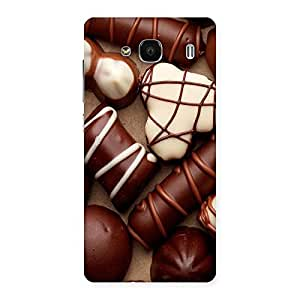 Delighted Chocolate Sweets White Brown Back Case Cover for Redmi 2