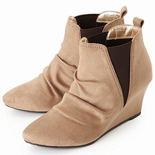 テーン(tehen) ブーツ(サイドゴアブーツ)【ベージュスエード調/25.0】