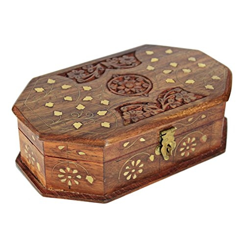 Decorative Jewelry Box With Lock Wooden Storage Keepsake Watch Box Floral Brass Inlay With Red Velvet Base Roof 8 5 Inches Unique Birthday Gift Ideas For Women Girls Decorative Jewelry