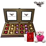 Valentine Chocholik Premium Gifts - Magical Creation Of Wrapped Chocolates Gift Box With Teddy And Love Card