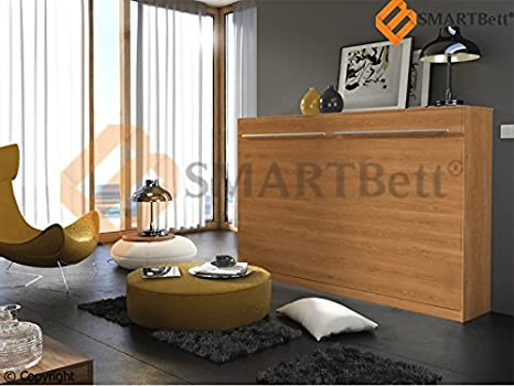 Smart cuna Murphy bed horizontal cama plegable bed Gaestebett 90 x200cm color haya