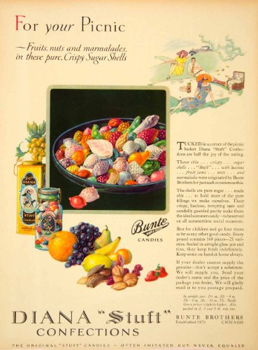 1927 Ad Bunte Brothers World Famous Diana Stuft Confection Candy Picnic Chicago - Original Print Ad