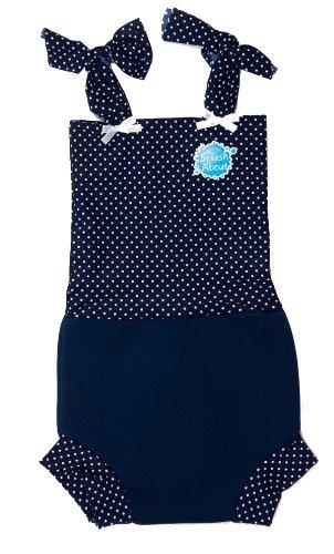 Splash About Happy Nappy Costume (Swimwear), Navy & White Dotty, Xl, 12-24 Months front-56430