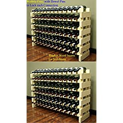 Stackable Modular Wine Rack Stackable Storage Stand Display Shelves, Wobble-Free, Pine wood, WN84-Q2 (144 Bottle Capacity)