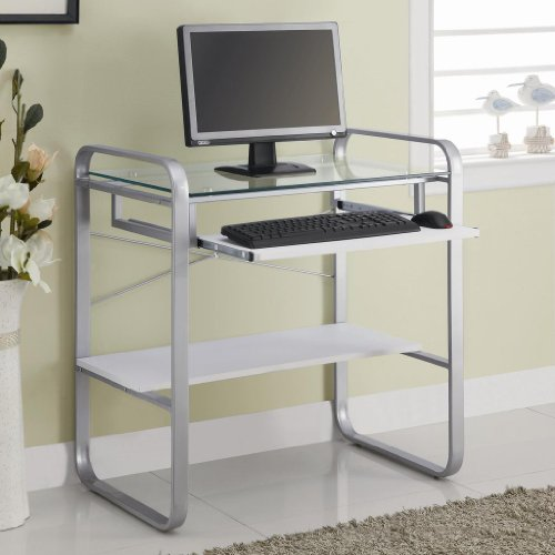 Buy Low Price Comfortable COMPUTER DESK,SILVER&WHT 21″Lx31-1/2″Wx33″H (B004HPX7X6)