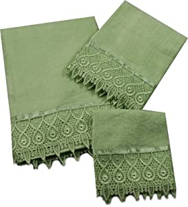jenny sage green 3 piece towel set bath towel hand towel wash cloth. Black Bedroom Furniture Sets. Home Design Ideas