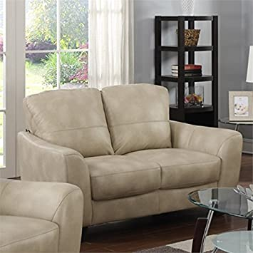Chintaly Imports Bonded Leather Club Loveseat, Taupe