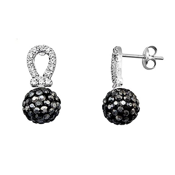 18k white gold cubic zirconia earrings 8mm ball. Black [AA5521]
