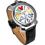 【大特価】Disney ディズニー ミッキー マルチカラーインデックス腕時計 ブラックベルト× ホワイト文字盤 ラウンドフェイス クロコ型押し 白 黒 青 赤 橙 黄 緑