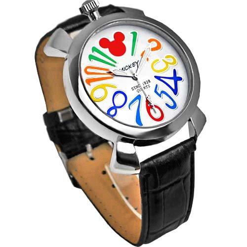 【大特価】Disney ディズニー ミッキー マルチカラーインデックス腕時計 ブラックベルト× ホワイト文字盤 ラウンドフェイス クロコ型押し 白 黒 青【並行輸入品】[時計]