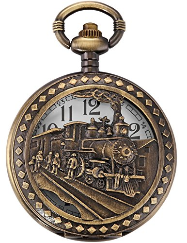 AMPM24 Skeleton Mens Steam Train Copper Dangle Pendant Quartz Pocket Watch with Chain WPK100